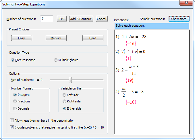 ... topics You choose the mathematical properties of the questions